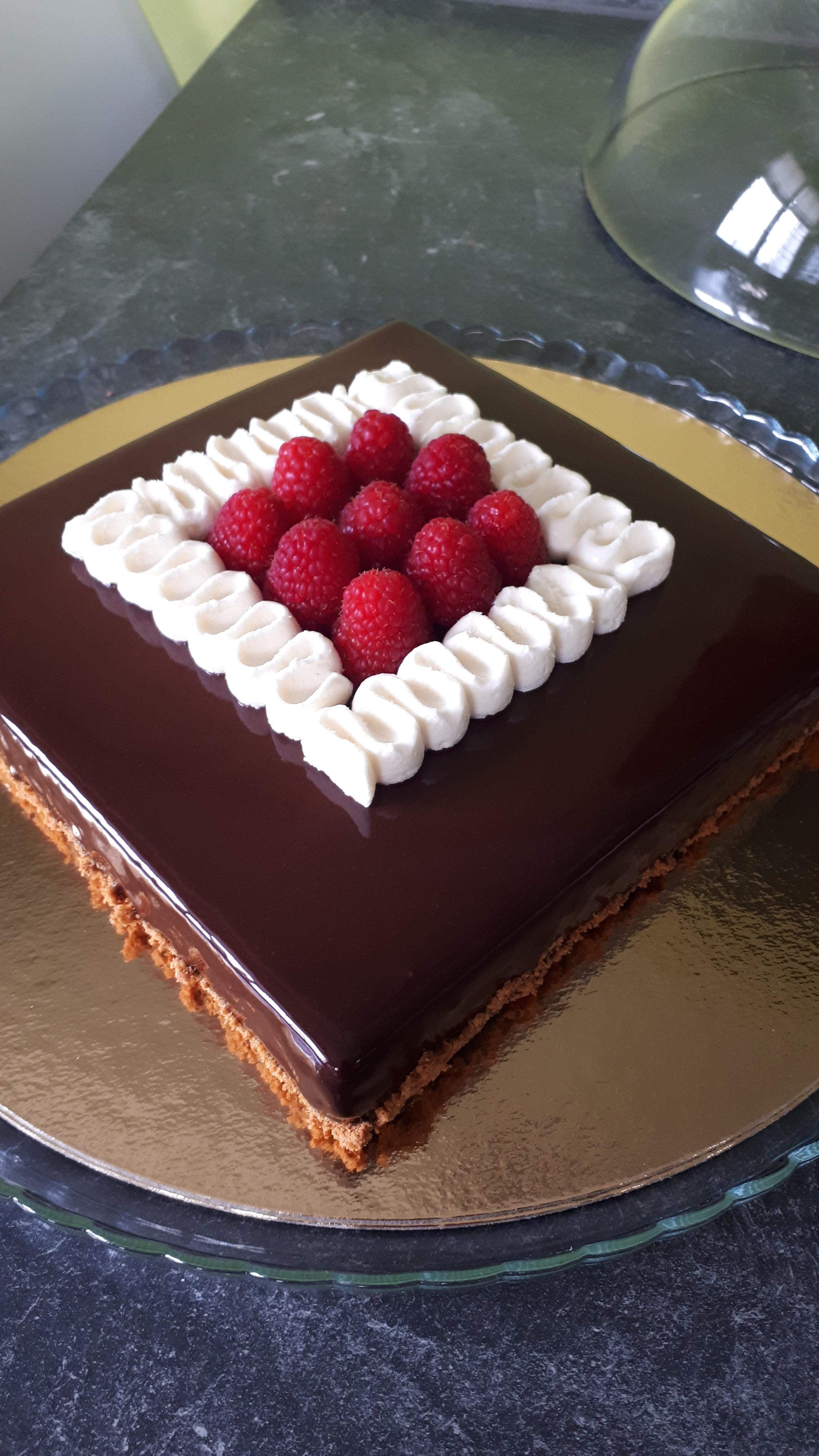 Entremet chocolat framboises