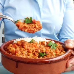 Dahl lentilles corail et patate douce curry