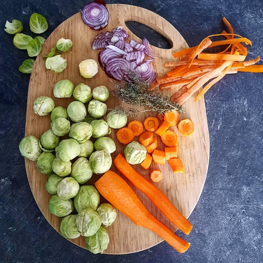 Poêlée choux de Bruxelles carottes