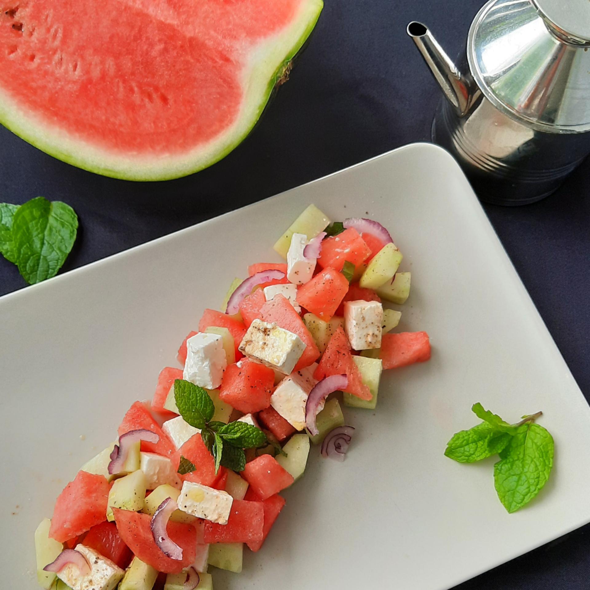 Salade concombre pastèque fêta